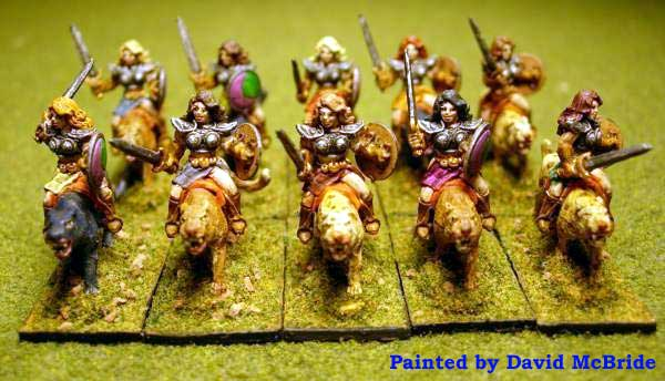 Armies of Arcana Painted Amazons on Panther Mounts